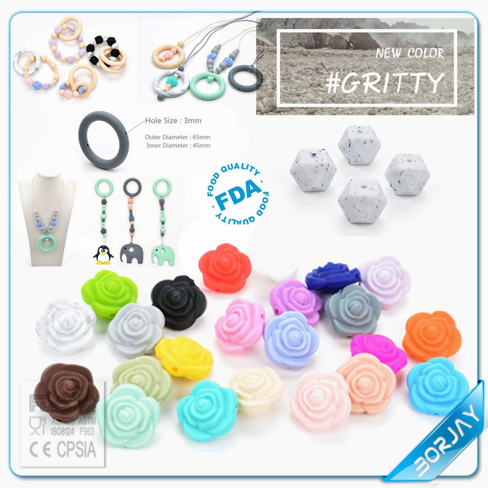 Food grade silicone beads BPA free soft loose safe for baby jewelry