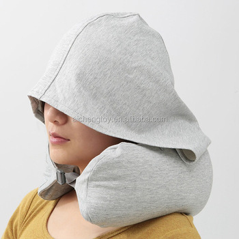 100% cotton U shape neck pillow with hat travel neck pillow with hood