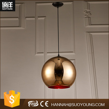 modern small round ball shaped Copper metal glass pendant light for coffee bar/kicthen/home decoration from Guzhen