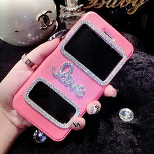Decorative luxury love flip PU+PC case for samrt iphone 6/6s,bling diamond stand case for i6 plus with two windows.