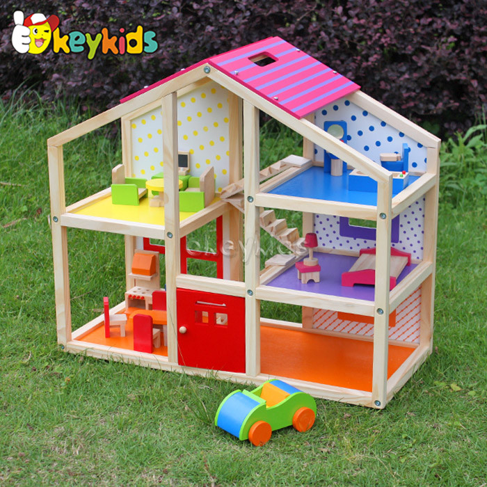 2016 wholesale baby wooden doll house, cheap kids wooden doll house, top fashion children wooden doll house W06A098