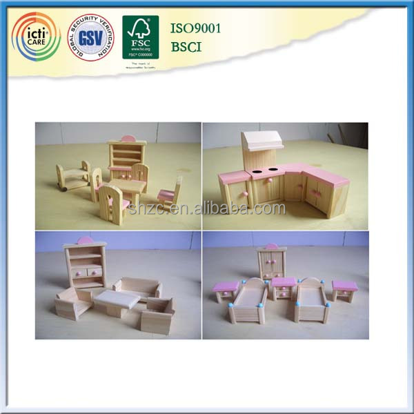 EN71,ASTM standard wooden miniature furniture set