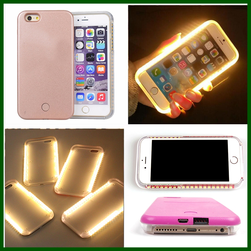 Luminous LED Light Up Selfie Phone Back skin Cover Case For iPhone 6 6S Plus