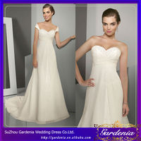 A-line Sweetheart with Detachable Shawls Ivory Organza Court Train Wedding Dresses with Scarf