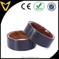 New Arrival Koa Wood Inner Band Carbon Fibre Party Ring