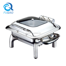 Wholesale Luxury Hydraulic Stainless Steel Glass Lid Chafing Dish for Buffet