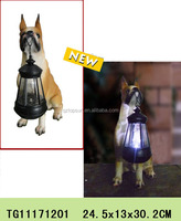 Polyresin dog statues with plastic lanterns solar led light