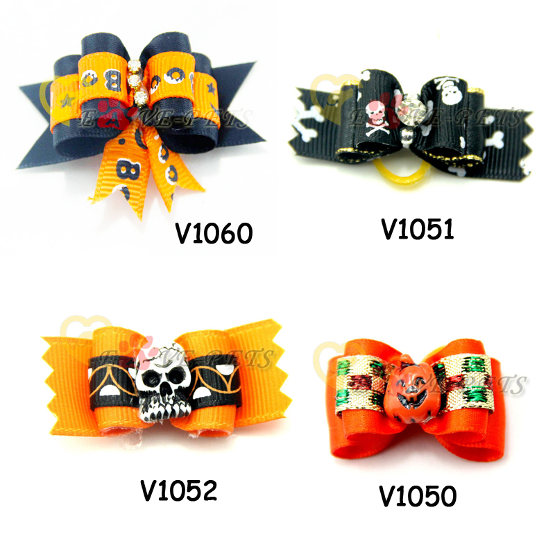 Dog Bows Halloween Design Dog Pet Hair Bows Pet Bows For Holidays Dog Cat Pet Festival Grooming Charms Accessories