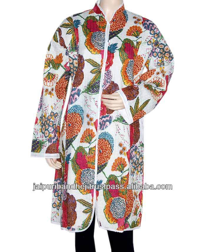 Stylish Women White Jackets Designer Reversible Floral Block Print White Cotton Quilted Womens Jacket 2013
