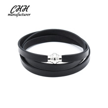 The latest hot genuine leather buckle men bracelet
