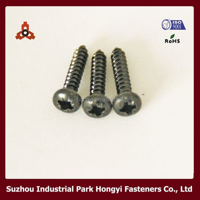 Pozi Recessed Pan Head M4 Screw Size By Self Tapping Thread Black Zinc Plated