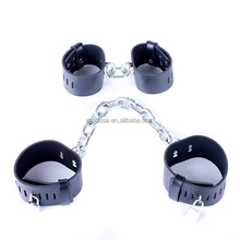 Black Heavy Leather Ankle and Wrist Cuff S&M Bondage Straps Under Bed Restraint Fetish