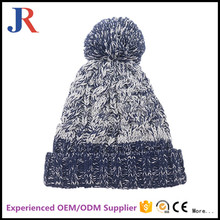 custom design your own logo 100% wool blank striped winter knitted hat with top ball