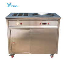 Commercial Stainless Steel Soft Ice Cram Roll Machine CE Approved 500mm Single Flat Pan Thailand Roll Fried Ice Cream Machine