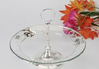 anti-slip wedding decoration glass cake stand