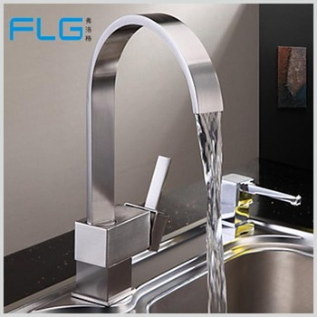 FLG hot sale kitchen design nickle brushing brass body kitchen tap