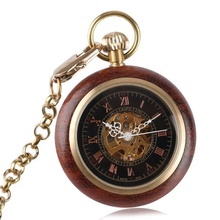 Wood Mechanical Pocket Watch Retro Hand Winding Hollow Skeleton Clock Men thick Necklace FOB Pendant