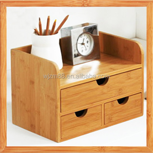 bamboo desktop organizers with drawers, wooden cosmetic organization wholesale