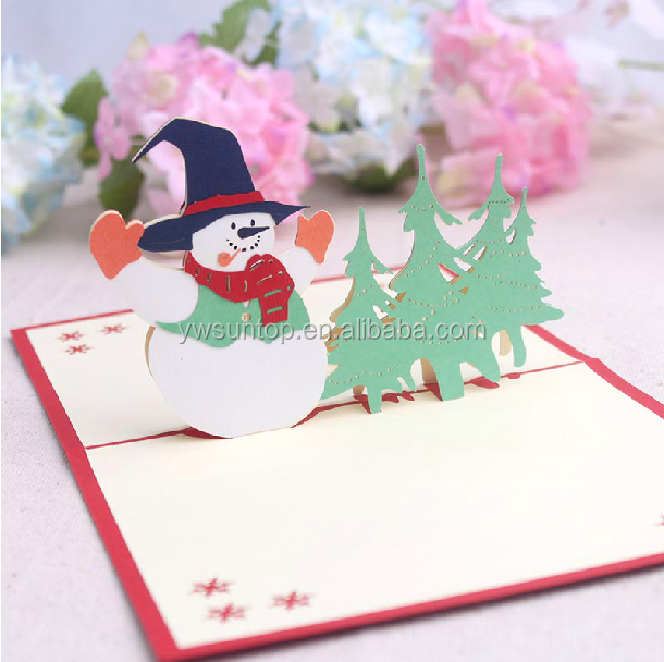 Creative christmas blessing card 3D snowman fancy gift cards