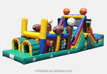 rugby football player sports game inflatable obstacle course with slide