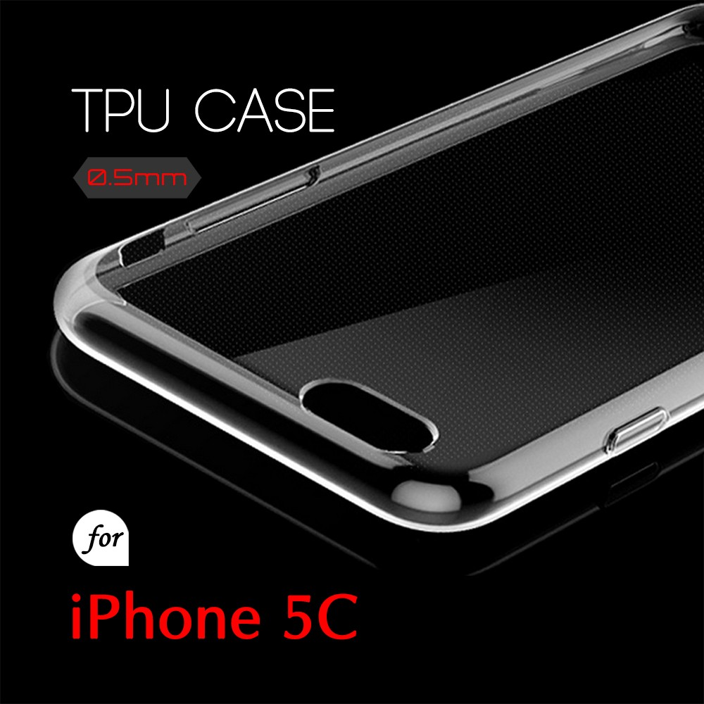 0.5mm Ultra Thin TPU Transparent Clear Protective Case for iPhone 5C