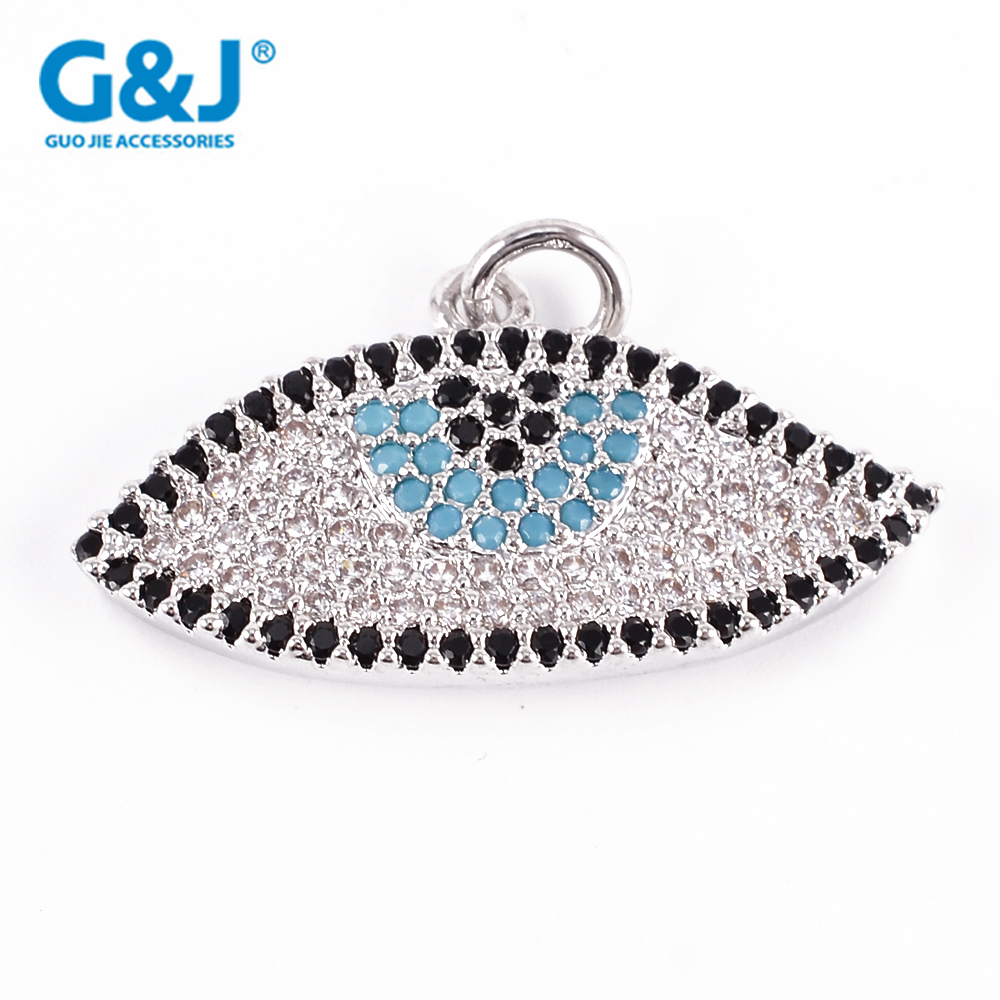 Guojie brand wholesale women fashion jewelry copper microscope gem stone evil eye pendants