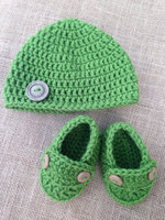 Wholesale 2PCS Wool Shoe With Hat Sole To Knitted Hand Crochet Baby Shoes