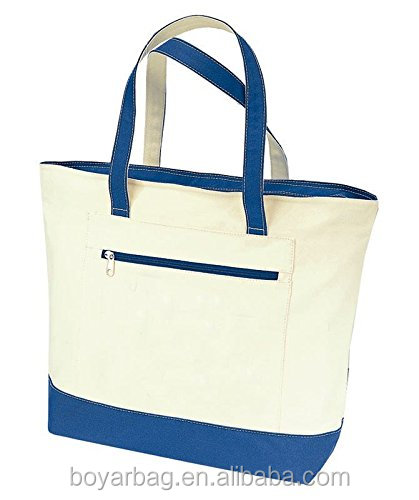 Stylish canvas zippered tote bag front pocket pool beach shopping travel tote bag promotional