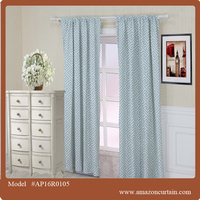 classic design american style Turquoise Blue grommets printed cleaning curtain drapes