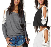 sexy women off shoulder tee shirt long sleeve causal loose lace tops for women apparel cheap wholesale