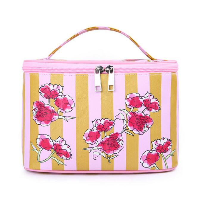 Flowers Bags Fashion PU Travel Hanging Cosmetic Bag