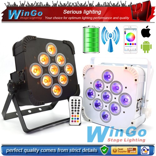 battery powered light led / 9 RGBAW+UV x 18W wireless DMX&battery power led flat par light / led uplights for wedding party
