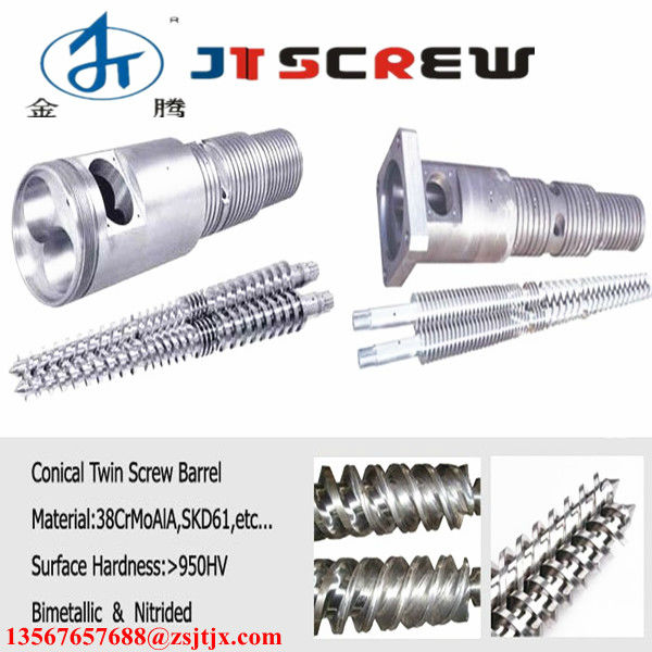 80/156 conical twin screw and barrel for pvc drainage pipe