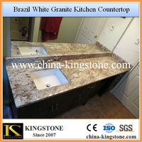 Brazil White Granite Bathroom Countertops with Built in Sink