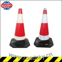 Unbreakable Reflective Red Construction Rubber Cone