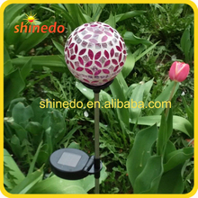 color changing powered solar mosaic glass ball light
