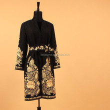Noble Coat 2015 New Arrival Wholesale Name Brand Quality Luxury Gold Flower Embroidery Long Black Wool Coat Women With Belt