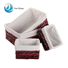 Home Furniture Wholesaler Small Cheap Baby Rectangular Wicker Storage Basket Containers With Lining Set of 4