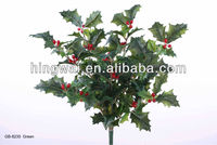 Artificial Flowers Christmas Decoration Holly Bush w/Leaves & Berries