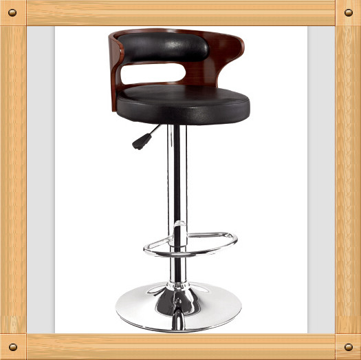 bw 2015 New adjustable height wood and leather bar chair low back morden leather bar stools
