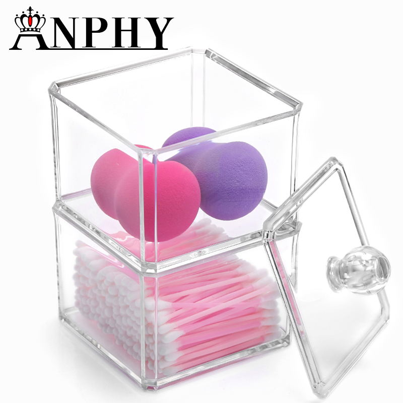 ANPHY C55 YIWUClear Acrylic Cotton Ball & Swab Storage Case - Organizer For Cotton Swabs, <strong>Q</strong>-Tips, Make Up Pads, Cosmetics & More