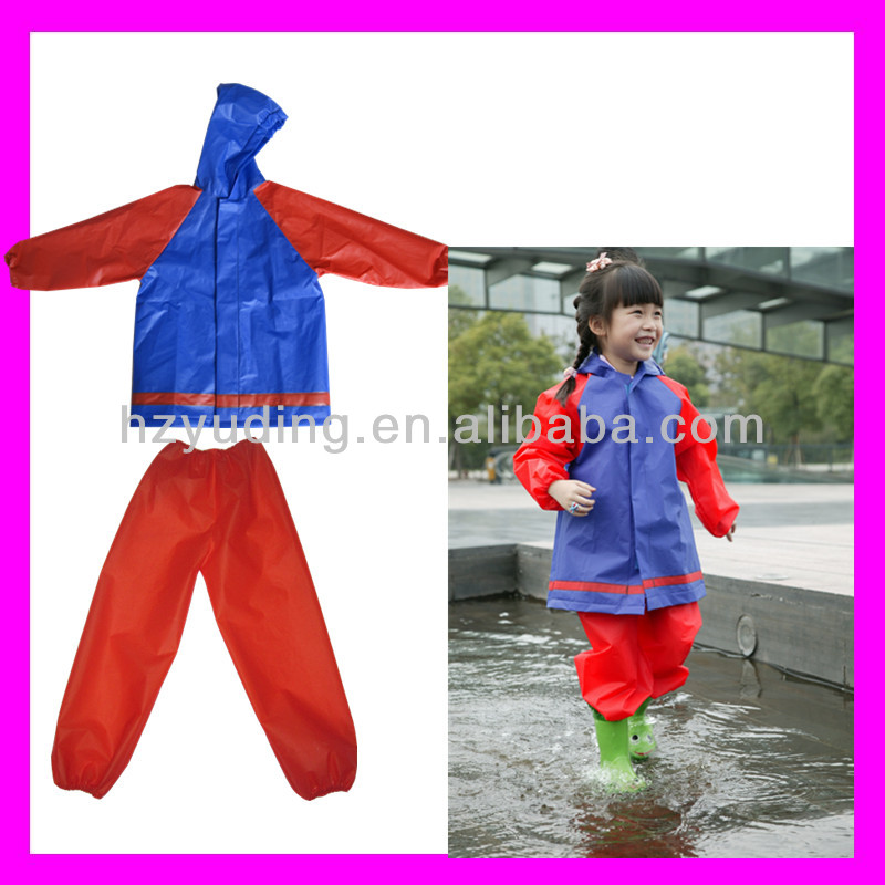 High quality lovely function EVA red rain suit with hood