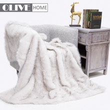 Luxury heavy thick micromink wolf faux fur throw blanket pillow for home/travel