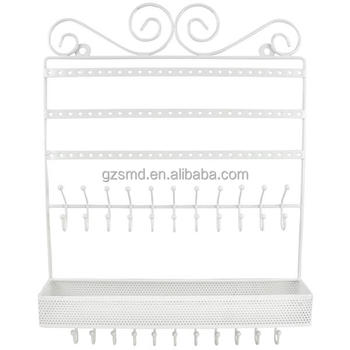 White Metal Hanging Rack Wall Jewelry Organizer
