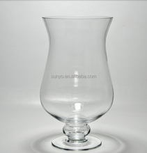 Brandy clear sodalime handblown bubble stem large glass vase bud rose bowl centerpiece leadfree manufacture