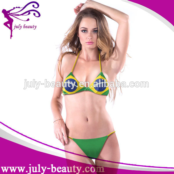 wholesale custom V-neck Halter brazil flag bikini for young girl