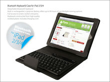 Hot iFans 2013 New Design Ultra thin Wireless detachable leather Bluetooth Keyboard For Ipad 2 3 4