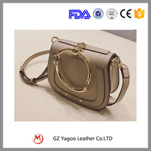 High quality solid color single shoulder handbag lady leather bag