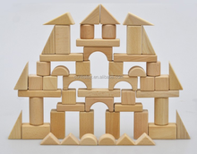 54 PCS without paint safety baby toy cubic wooden bricks naturial cube building blocks toys