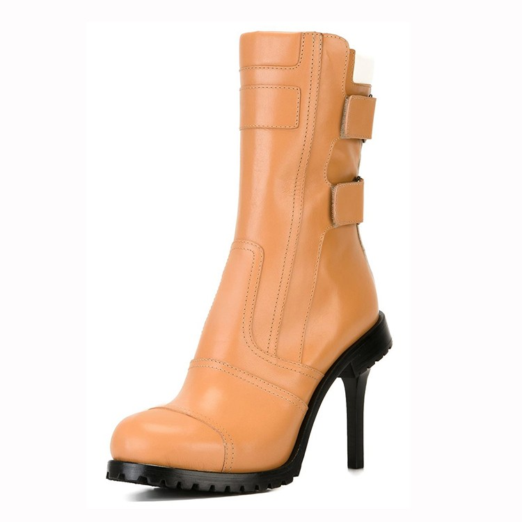 2017 high heel middle ladies leather boot girl half boot